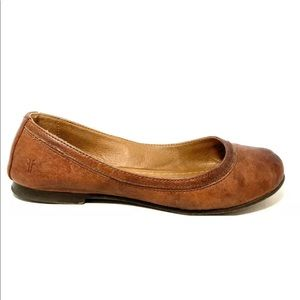 Frye Carson Brown Leather Slip On Ballet Flats